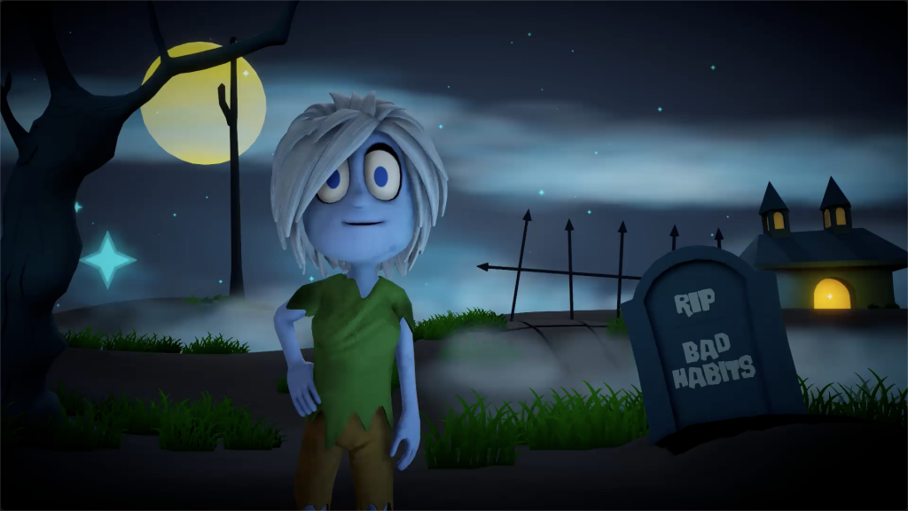 """The zombie Pri' standing in a graveyard with a tombstone behind her that says """"Bad Habits"""""""